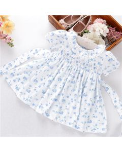 "Aurora Royal ""Darling"" White&Blue Hand-Smocked Dress"
