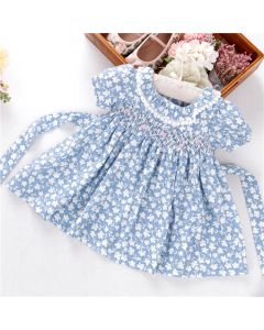 "Aurora Royal "" Mandy "" Blue & White Hand-Smocked Cotton Dress"
