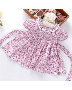 """Aurora Royal """" Our Beth """" Ditsy Hand-Smocked Cotton Dress"""