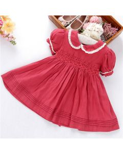 "Aurora Royal Girls ""Scarlett"" Red Hand-Smocked Cotton Dress"
