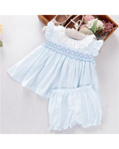 "Aurora Royal Baby Girls ""Almira"" Cotton/Poplin Hand Smocked Set"