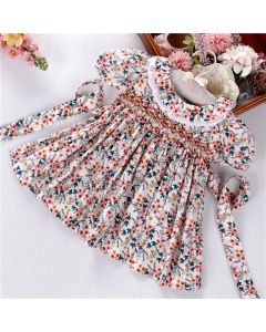 "Aurora Royal ""Nikita"" Hand-Smocked Floral Dress"