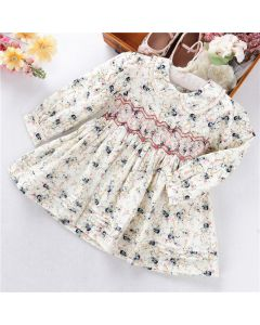 "Aurora Royal ""Sibilla"" Floral Hand-Smocked Dress"