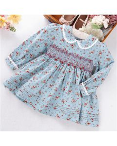 "Aurora Royal "" Vera "" Blue Floral Hand-Smocked Dress"