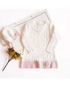 "Aurora Royal  ""Marta"" Baby  Knitted Dress & Beret Set"