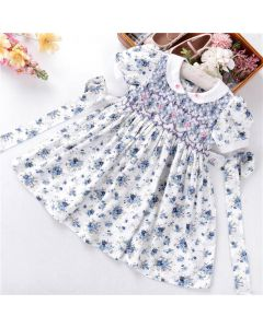 "Aurora Royal "" Emily "" Blue Flowes Handsmocked Dress"