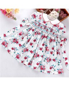 "Aurora Royal ""Frida"" Red Flowes Handsmocked Dress"