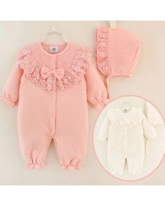 "Aurora Royal ""Susie"" Quilted Babysuit & Bonnet Set"