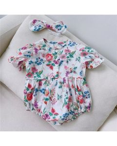 "Aurora Royal ""Jess""Cotton/Poplin Floral Romper & Headband Set"