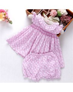 "Aurora Royal Baby Girls "" Violetta "" Cotton Liberty Hand Smocked Set"