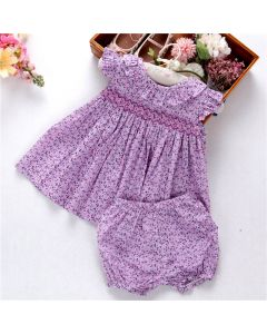 "Aurora Royal Baby Girls "" Manon "" Cotton Hand Smocked Set"