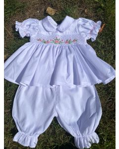 "Aurora Royal ""Kelly"" Ivory  Hand-Smocked Traditional Pyjamas Set. LIMITED"