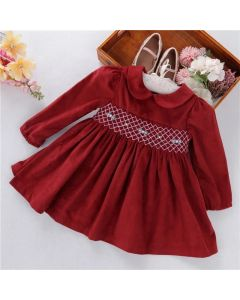 "Aurora Royal "" Garnet "" Corduroy Hand Smocked Dress"