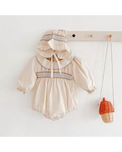 "Aurora Royal ""Nadine"" Cotton Smocked  Romper & Bonnet Set"