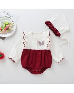 "Aurora Royal ""Butterfly"" Maroon Pima Cotton Romper & Bonnet Set"