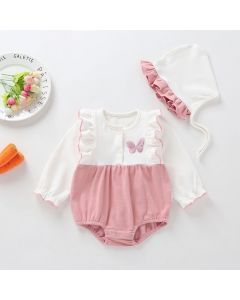 "Aurora Royal ""Butterfly"" Peach Pima Cotton Romper & Bonnet Set"