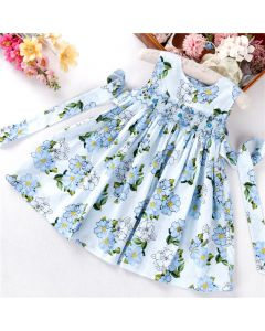 "Aurora Royal "" Columbina "" Hand Smocked Cotton/Poplin Summer Dress"