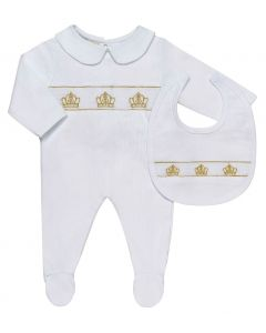 "Aurora Royal ""Three Crowns"" White  Smocked Babygrow & Bib"