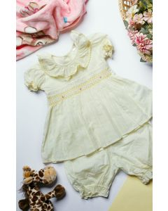 "Aurora Royal ""Miraya"" Pale Yellow Hand-Smocked Pyjamas Set"