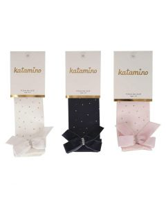 Pack of 3 Vellvet Bow & Diamante Cotton Knee Socks