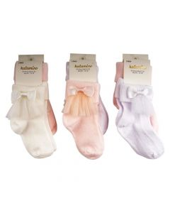 "Baby Girls  Pack of  6 ""Cleo"" Bow & Tulle Net Ankle Socks"